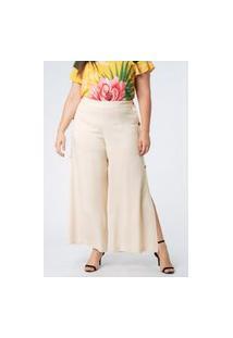Calça Almaria Plus Size Munny Pantalona Botões Off-White