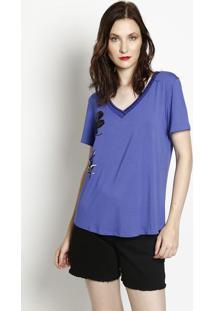 Camiseta Com Bordado Frontal- Azul & Preta- Maria Vamaria Valentina