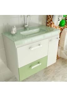 Gabinete Vetro 80 Cm 2 Portas 1 Gaveta Branco & Verde