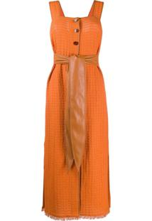 Nanushka Vestido Longo Rita Com Cinto - Laranja