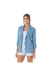 Blazer Slywear Jeans Alongado Azul