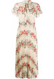 Redvalentino Vestido Com Pregas E Estampa Floral - Neutro
