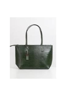 Bolsa Shopping Bag Croco Feminina Verde