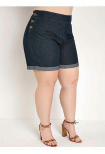 Short Jeans Com Botões Nas Laterais Plus Size