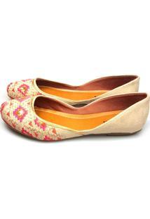 Sapatilha Love Shoes Cavada Bordado Étnico Areia Pink