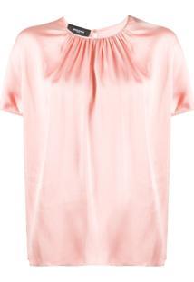Rochas Blusa Mangas Curtas - Rosa