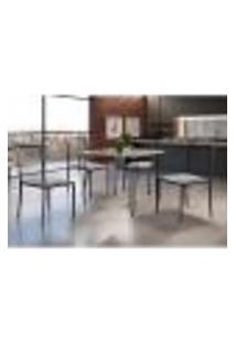 Conjunto De Mesa De Jantar Grécia Com Tampo De Vidro Mocaccino E 4 Cadeiras Atos Linho Bege E Grafite