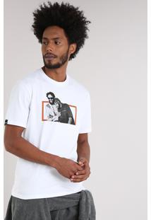 Camiseta Masculina Lab Emicida E Fióti Manga Curta Gola Careca Branca