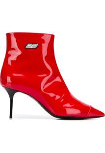 Msgm Ankle Boot Com Salto Agulha - Vermelho