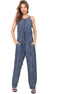 Macacão Jeans Forum Cargo Utilitário Azul