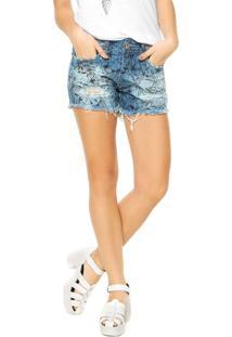 Bermuda Jeans Colcci Estampa Azul