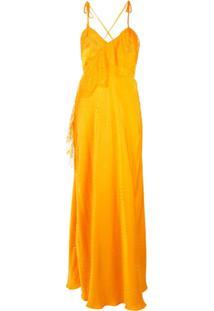 Self-Portrait Vestido Com Detalhe De Renda - Amarelo