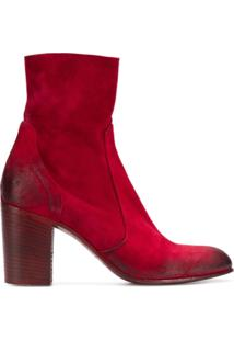 Strategia Ankle Boot Com Detalhes Puídos - Vermelho