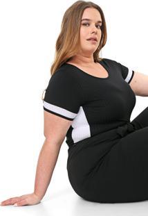 Blusa Lnd Lunender Mais Mulher Plus Canelada Preta/Branca