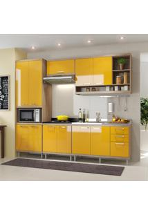Cozinha Compacta 11 Portas Com Balcão Sem Pia 5808 Amarelo/Argila - Multimóveis