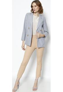 Blazer Listrado Com Linho - Azul Claro & Branco- Le Le Fix