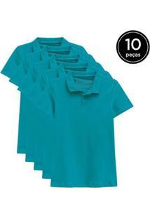 Kit 10 Camisas Polo Basicamente Feminino - Feminino-Verde