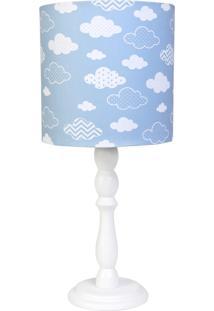 Abajur Madeira Nuvem Quarto Bebê Infantil Menino Potinho De Mel Azul - Kanui