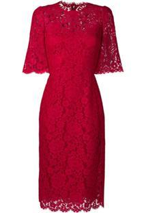 Dolce & Gabbana Vestido De Renda - Vermelho