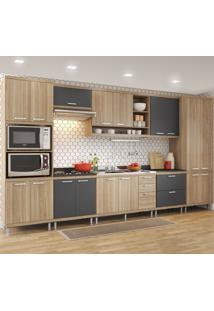 Cozinha Completa 17 Portas 5 Gavetas Sicilia 5832 Premium Argila/Grafite - Multimóveis