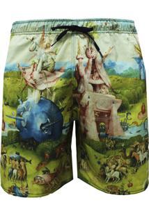Shorts Elástico Alkary Quadro Multicolorido