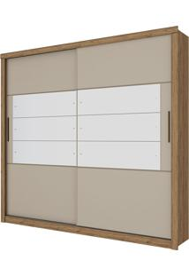 Guarda Roupa Casal Com Espelho 3 Portas Gravatá-Henn - Rustico / Cristal