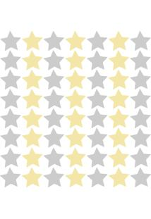 Adesivo De Parede Estrelas Cinza E Amarelo 54Un