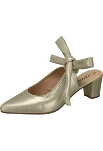Scarpin Lu Fashion Laço Dourado