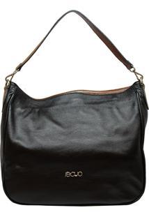 Bolsa Em Couro Recuo Fashion Bag Sacola Preto/Caramelo