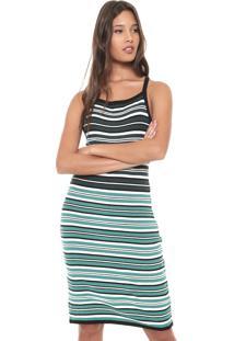 Vestido Colcci Curto Listrado Verde/Off White
