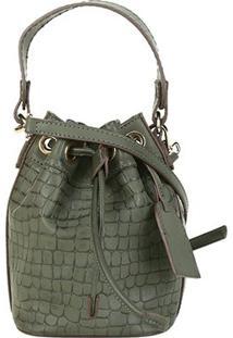 Bolsa Shoestock Bucket Mini Croco Feminina - Feminino-Verde