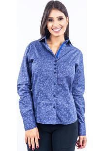 Camisa Lupim Donna Micro Flor Roxa