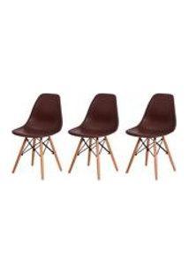 Kit 3 Cadeiras Charles Eames Eiffel Marrom Base Madeira Sala Cozinha Jantar
