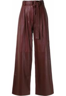 Boss Calça Pantalona De Couro - Vermelho