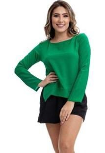 Blusa Clara Arruda Bicolor 20321 - Feminino-Verde