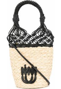 Miu Miu Bolsa Bucket De Palha Com Detalhe De Mesh - Neutro