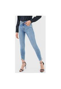 Calça Cropped Jeans Morena Rosa Skinny Giane Azul