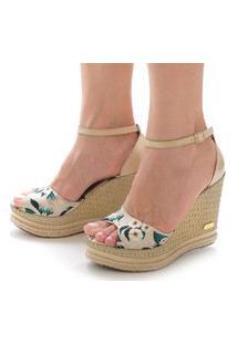Sandália Anabela Sb Shoes Ref.3201 Off White/Floral