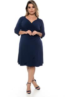 Vestido Domenica Solazzo Drapeado Marinho Plus Size