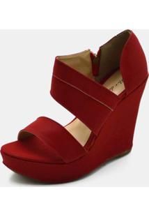 Sandália Anabela Salto Alto Em Nobucado Vermelho
