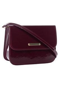 Bolsa Feminina Pequena Transversal Estruturada Luxo Lisa Em Verniz Vermelho