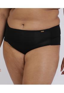 Calcinha Love Secret Plus Size Em Modal Caleçon Com Lateral Dupla Preta
