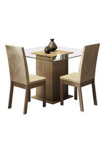 Conjunto Sala De Jantar Madesa Tamy Mesa Tampo De Vidro Com 2 Cadeiras Rustic/Imperial Rustic/Imperial