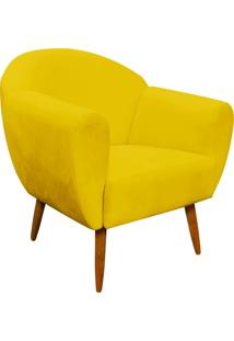 Poltrona Decorativa Sofia Suede Amarelo - D'Rossi