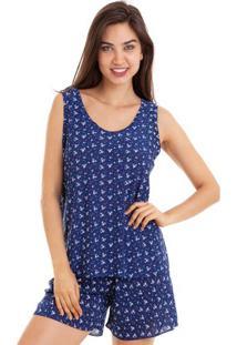 Pijama Bermudoll Estampado Em Liganete Feminino Luna Cuore