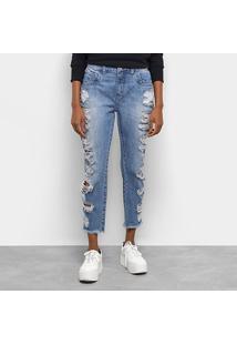 Calça Jeans Skinny Colcci Rasgos Cintura Média Feminina - Feminino-Azul