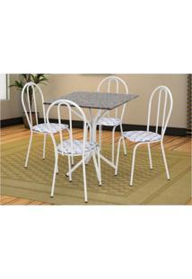 Jogo De Mesa Artefamol E 04 Cadeiras Thais Com Tampo Em Mdf Branca Com Assento Capitone - Branco - Dafiti