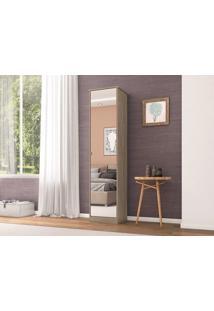 Sapateira 1 Porta Com Espelho Reflex Nogal - Lc Móveis
