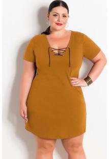 Vestido Caramelo Plus Size Amarração No Decote