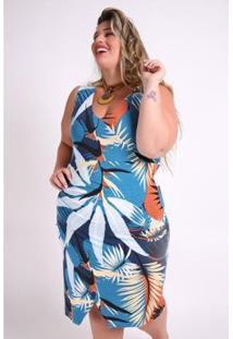 Vestido Kaue Plus Size Folhagem Feminino - Feminino